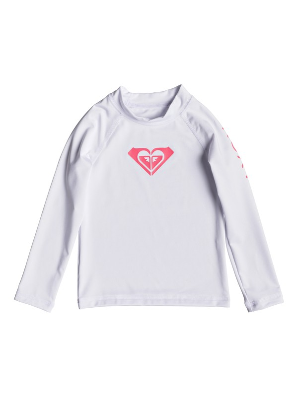 0 Girl's 2-6 Whole Hearted Long Sleeve UPF 50 Rash Guard White ERLWR03075 Roxy