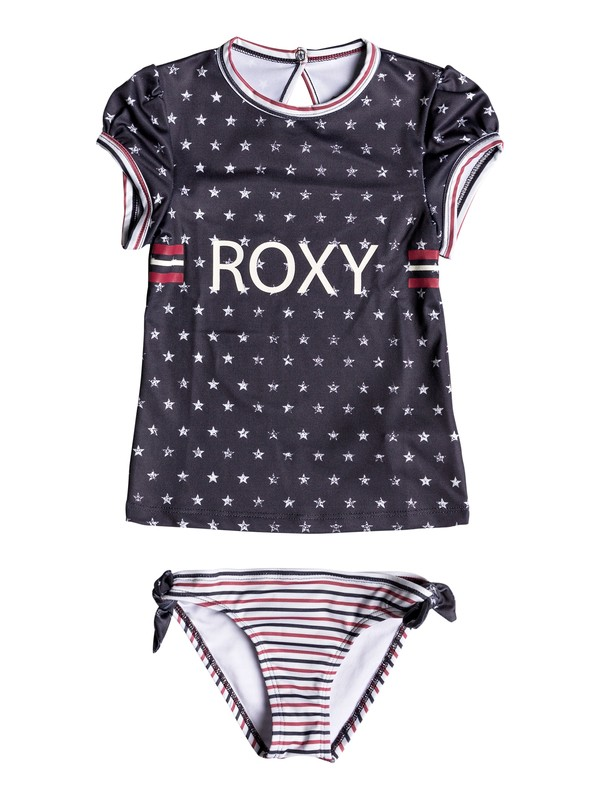 0 Girls 2-6 Gipsy ROXY Short Sleeve UPF 50 Rashguard Set Blue ERLWR03082 Roxy