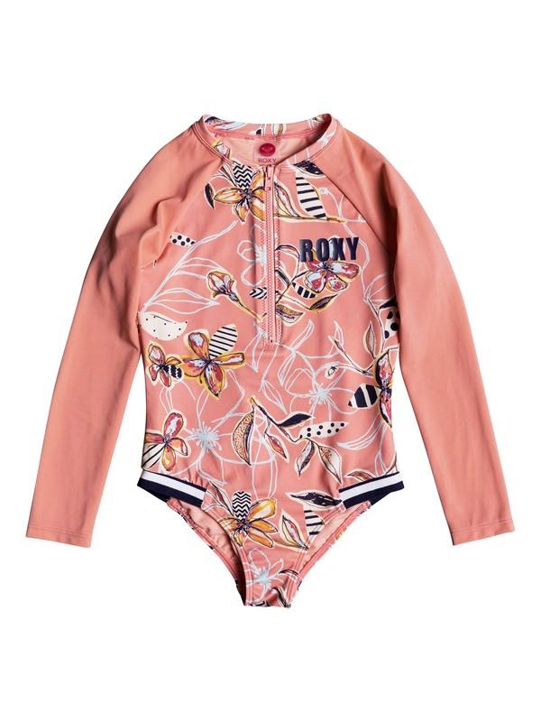0 Girls 2-6 Let's Be ROXY Long Sleeve UPF 50 Zipped One-Piece Rashguard Pink ERLWR03085 Roxy