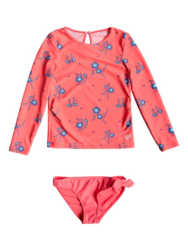 0 Girl's 2-6 Chill After Long Sleeve UPF 50 Rash Guard Set Red ERLWR03087 Roxy