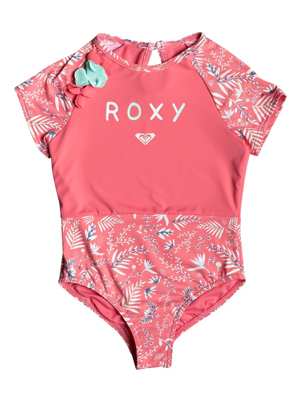 0 Girl's 2-6 Bali Dance Short Sleeve UPF 50 One-Piece Rashguard Pink ERLWR03099 Roxy