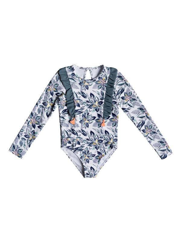 0 Girl's 2-6 Magic Seeker Long Sleeve UPF 50 One-Piece Swimsuit White ERLWR03105 Roxy