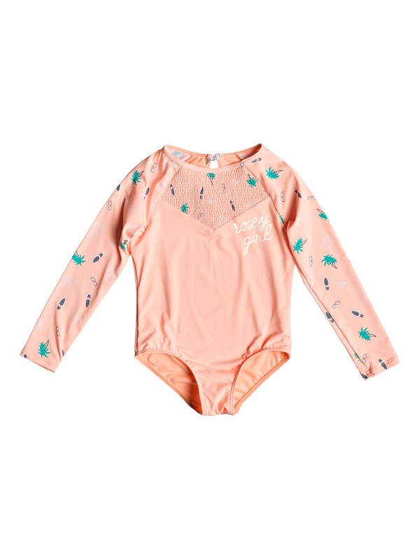 0 Girl's 2-6 Salty But Sweet Long Sleeve UPF 50 One-Piece Swimsuit Pink ERLWR03107 Roxy