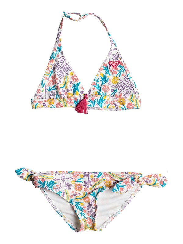 0 Girl's 2-6 Caravane Beauty Halter Bikini Set White ERLX203033 Roxy
