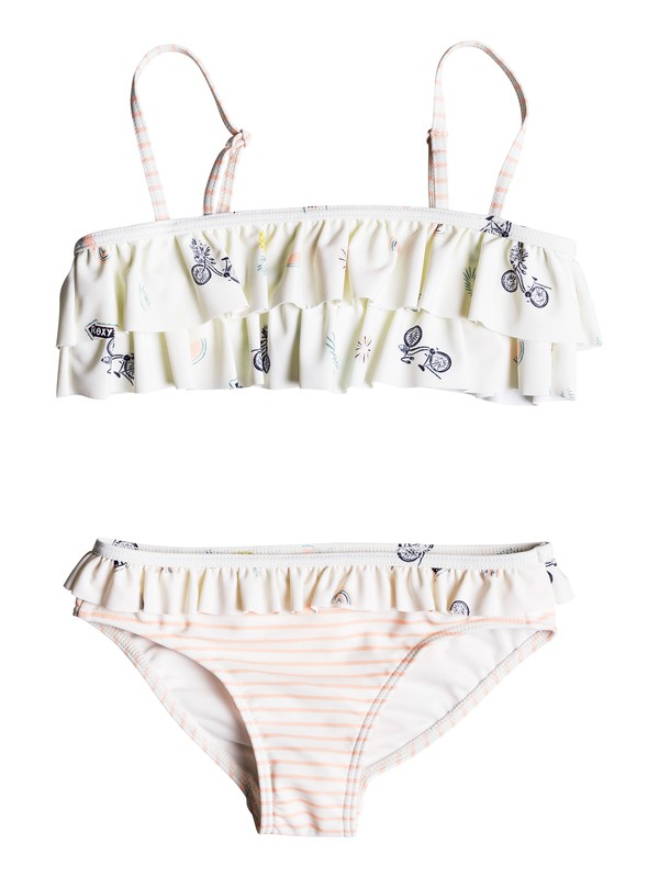 0 Girl's 2-6 Come On Board Flutter Bikini Set White ERLX203062 Roxy