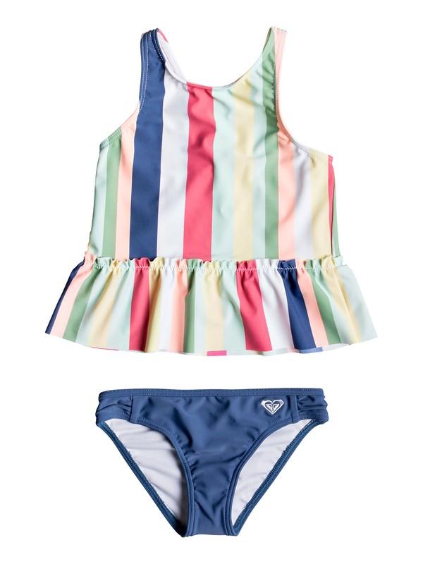0 Girl's 2-6 Paradise Tropics Tankini Bikini Set White ERLX203067 Roxy