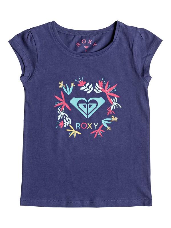 0 Girl's 2-6 Moid Flower Logo Cap Sleeve Tee Blue ERLZT03123 Roxy