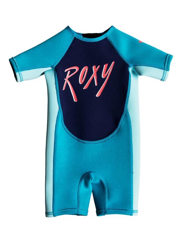0 Girl's 2-6 Toddlers 1.5mm Syncro Short Sleeve Back Zip Springsuit Blue EROW503002 Roxy
