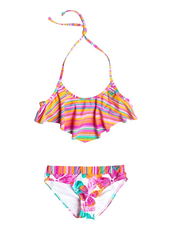 0 Girl's 7-14 Jungle Times Striped Flutter Bikini Set  RRF58517 Roxy