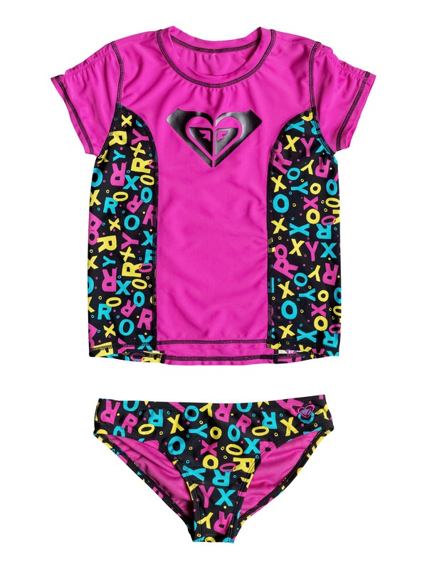 0 Girl's 2-6 Roxy Pop Logo Rashguard Set  RRF58606 Roxy