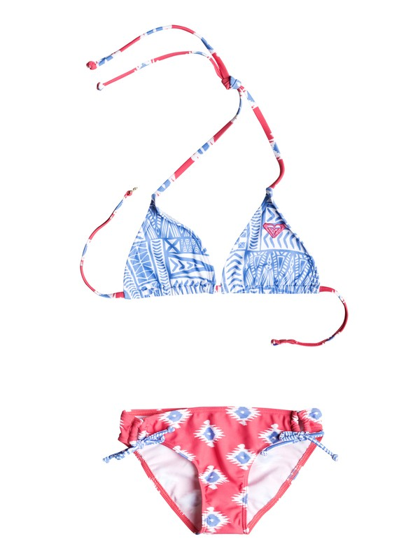 0 Girl's 7-14 Sunset Swim Tiki Triangle Bikini Set  RRF58627 Roxy