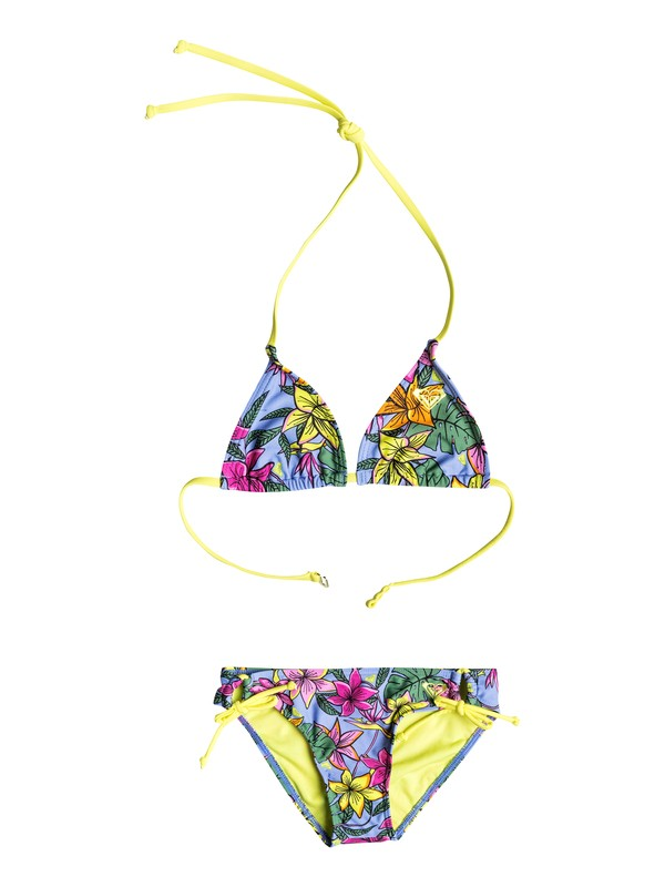 0 Girl's 7-14 Hot Tropics Tiki Triangle Bikini Set  RRF58657 Roxy