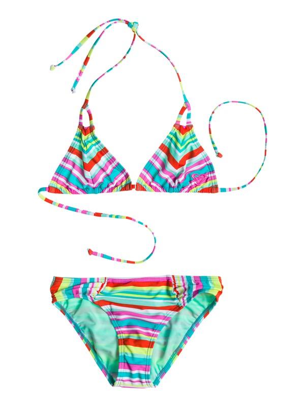 0 Girl's 7-14 Surf's Up Stripe Tiki Tri Set  RRS58507 Roxy