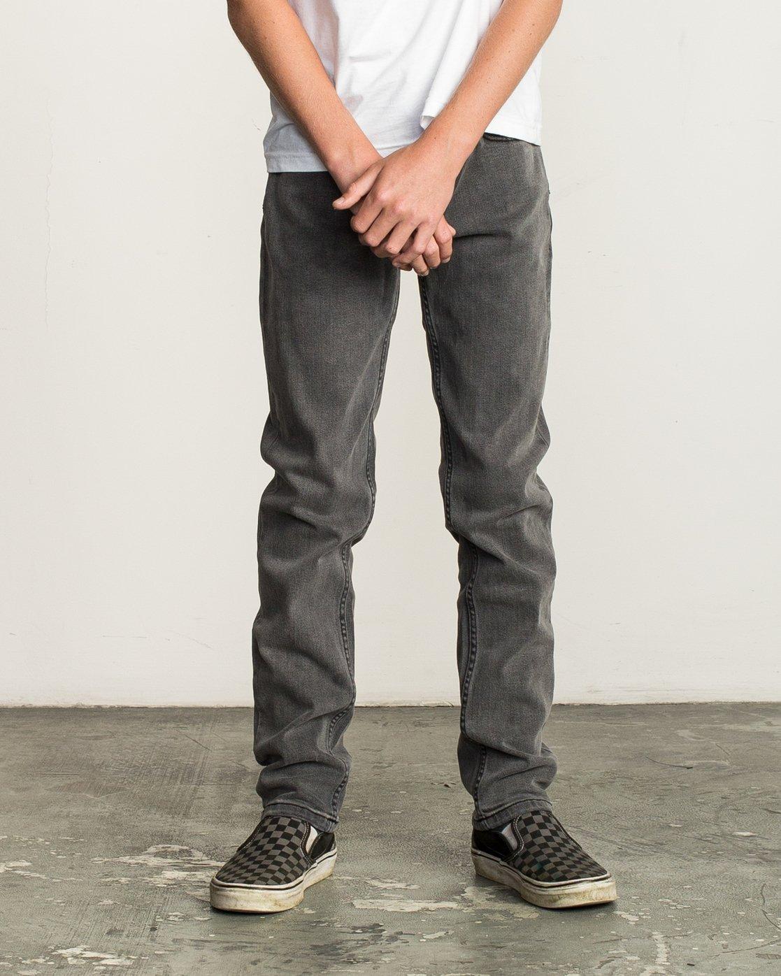 0 Boy's Daggers Denim Jeans Grey B302QRDA RVCA