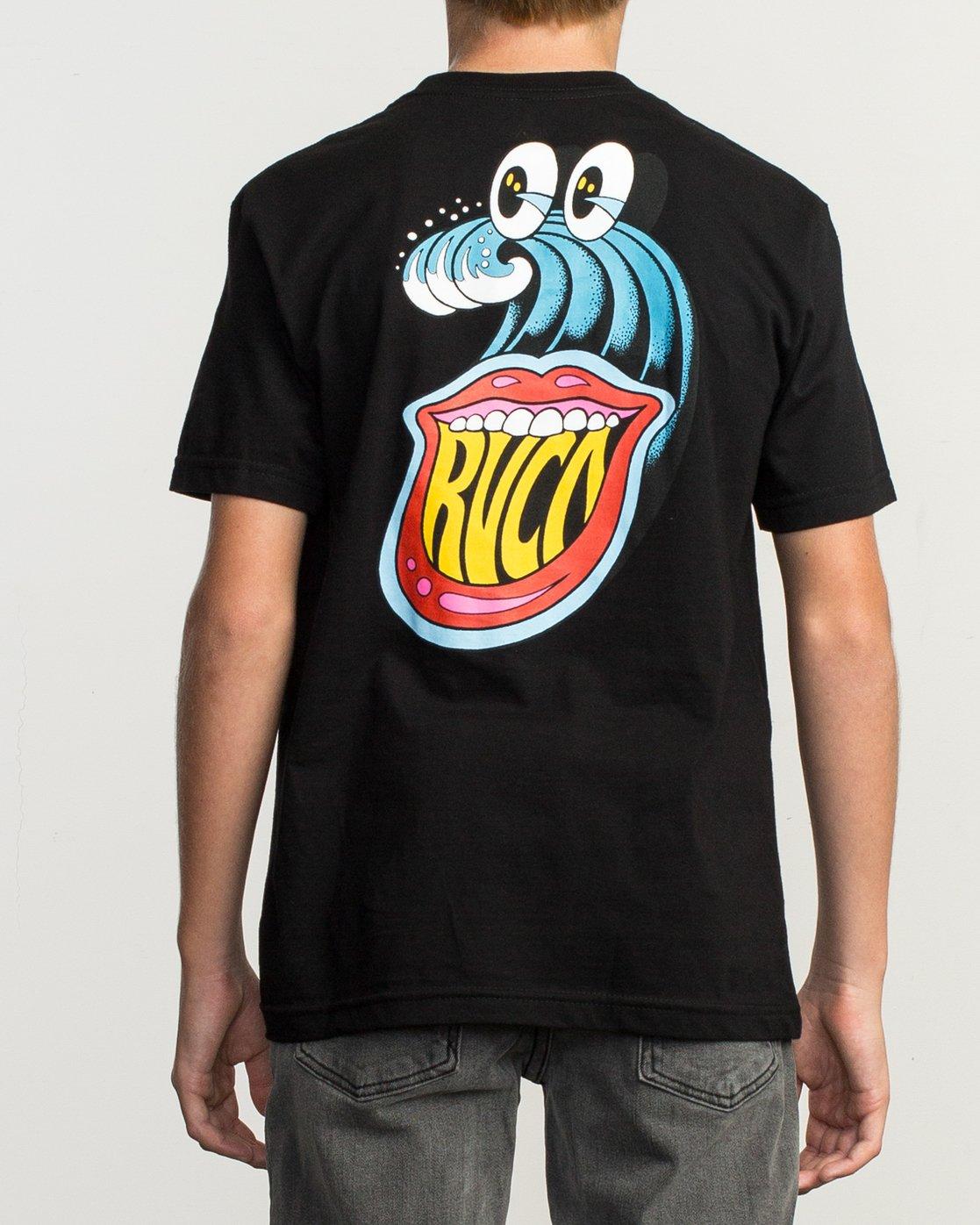 4 Boy's Dmote Jetty Lips T-Shirt Black B401TRJE RVCA