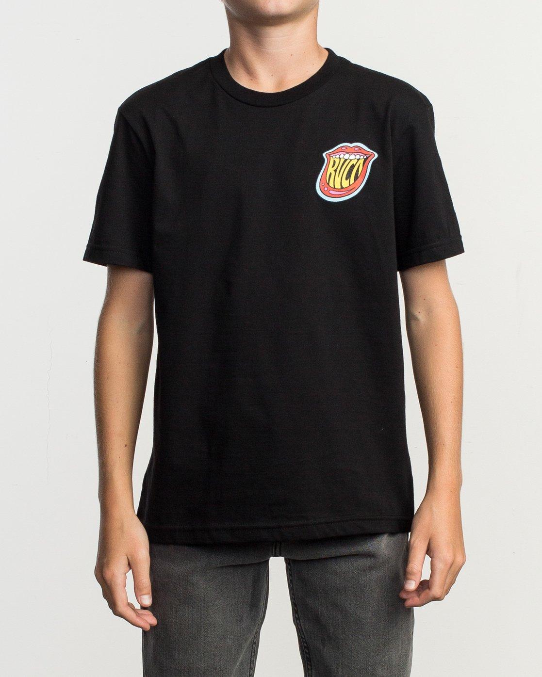 2 Boy's Dmote Jetty Lips T-Shirt Black B401TRJE RVCA