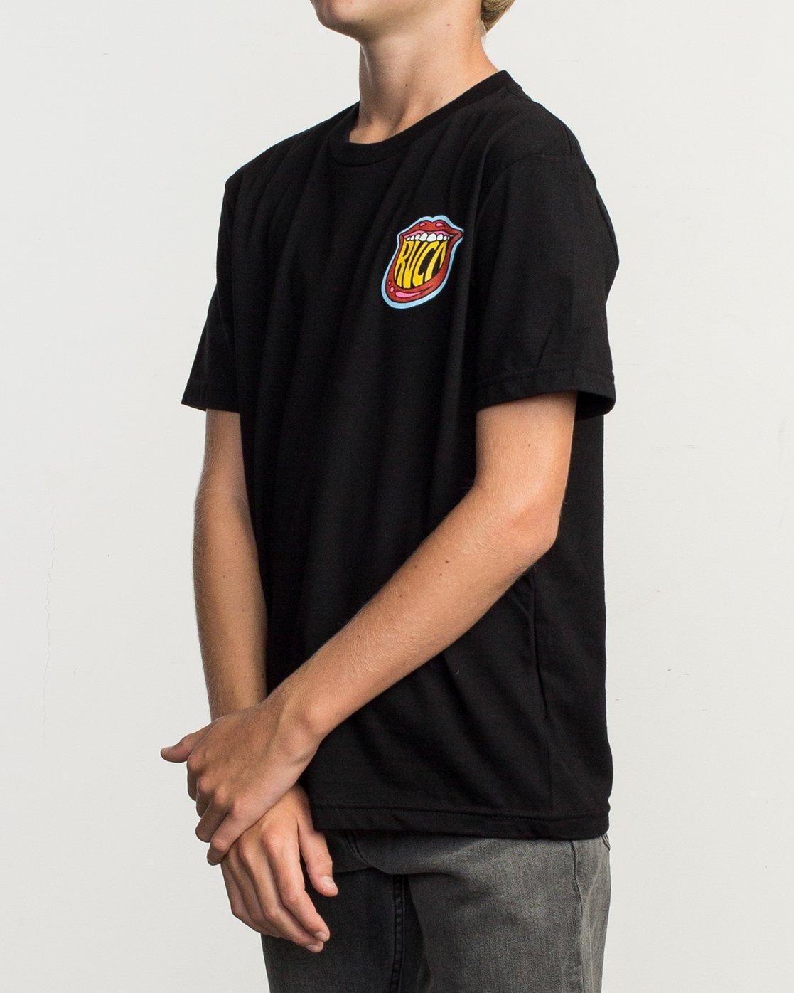 3 Boy's Dmote Jetty Lips T-Shirt Black B401TRJE RVCA