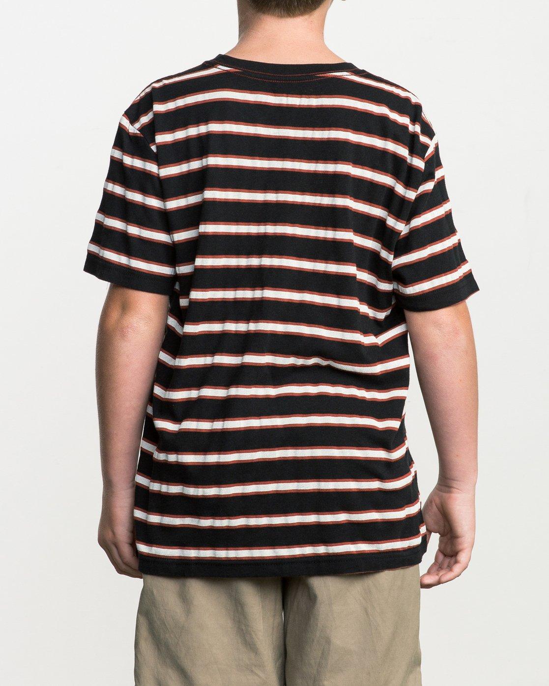 3 Boy's Brong Stripe T-Shirt Black B406SRBR RVCA