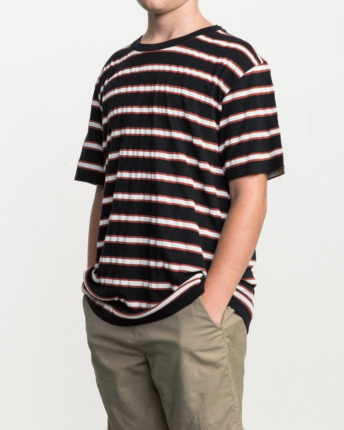 2 Boy's Brong Stripe T-Shirt Black B406SRBR RVCA
