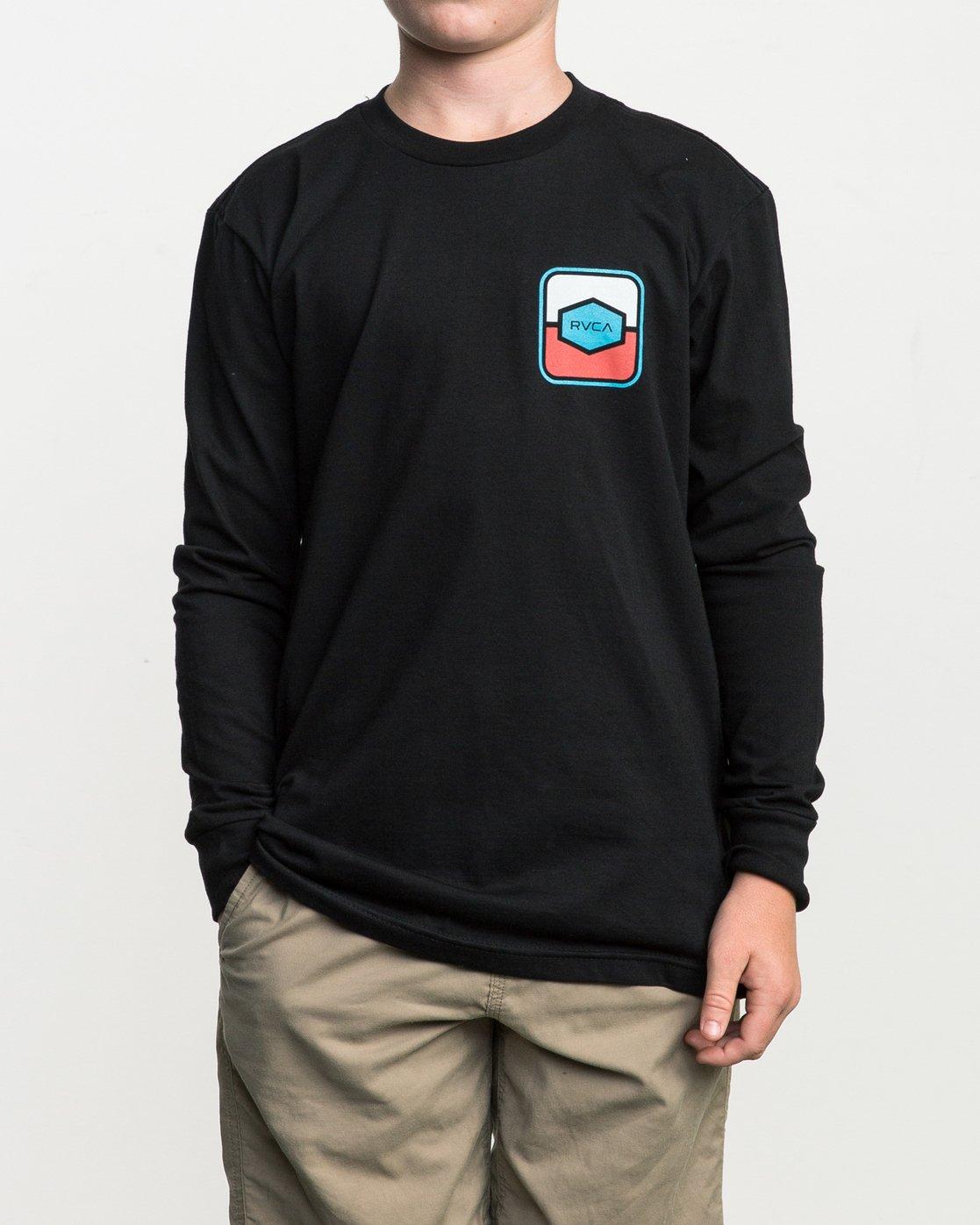 1 Boy's Milton Long Sleeve T-Shirt Black B451SRMI RVCA