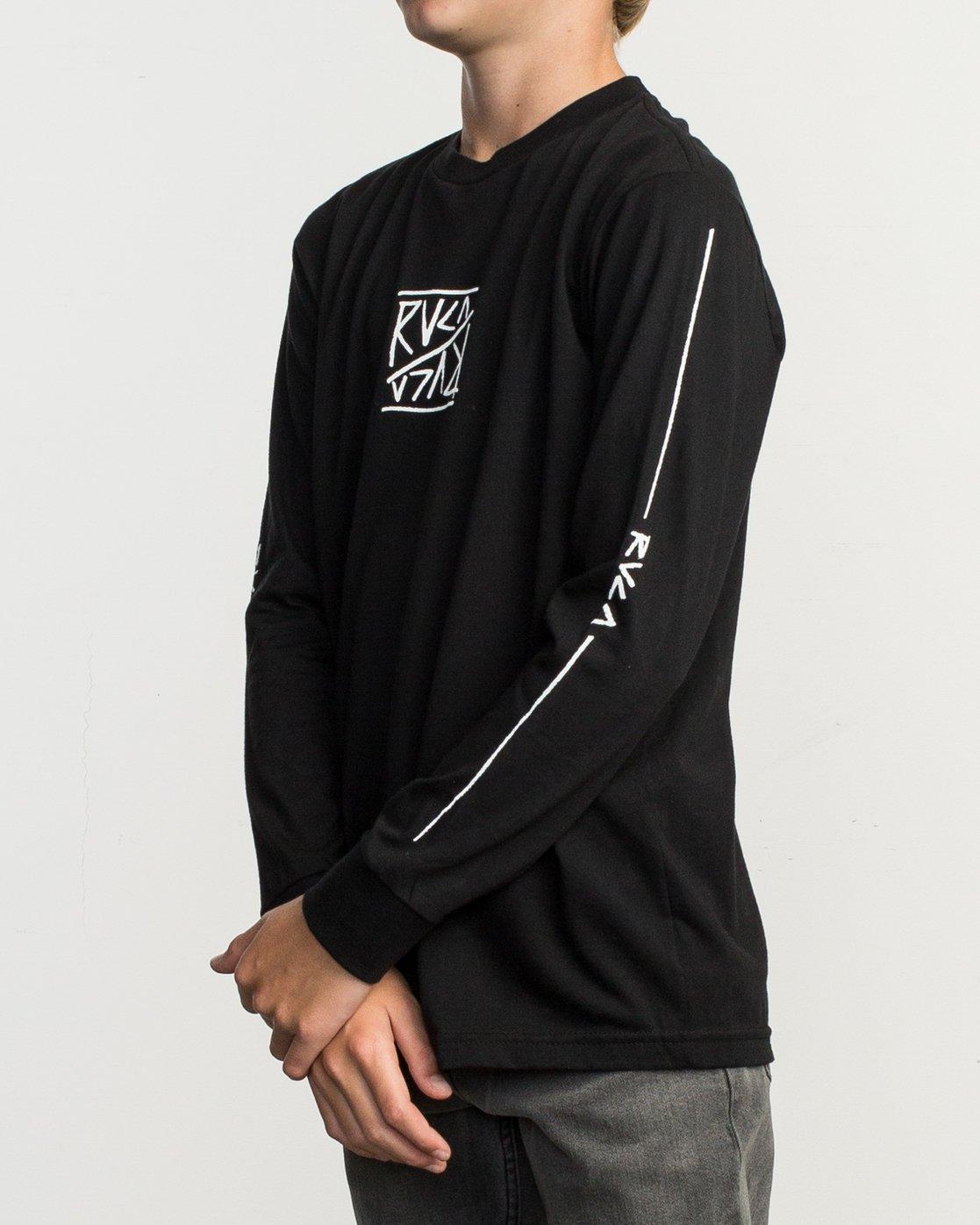 3 Boy's Flipped Long Sleeve T-Shirt Black B451TRFL RVCA