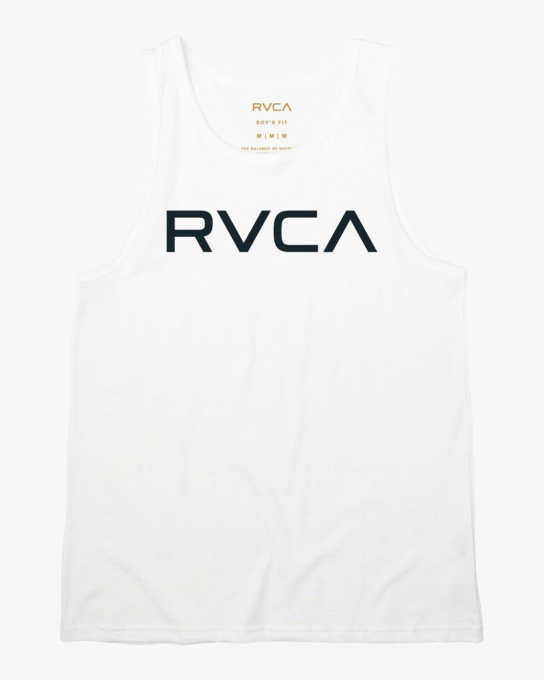 0 Boy's Big RVCA Tank Top White B482QRBI RVCA