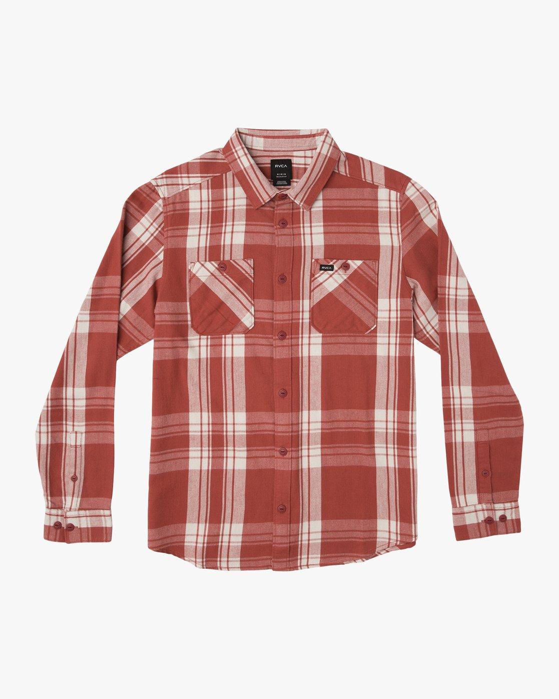 0 Boy's Wanted Plaid Flannel Red B551SRWA RVCA