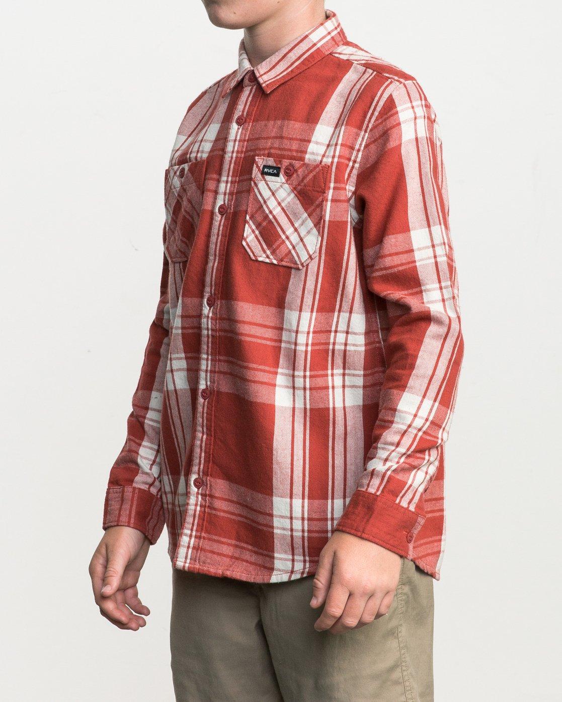 2 Boy's Wanted Plaid Flannel Red B551SRWA RVCA