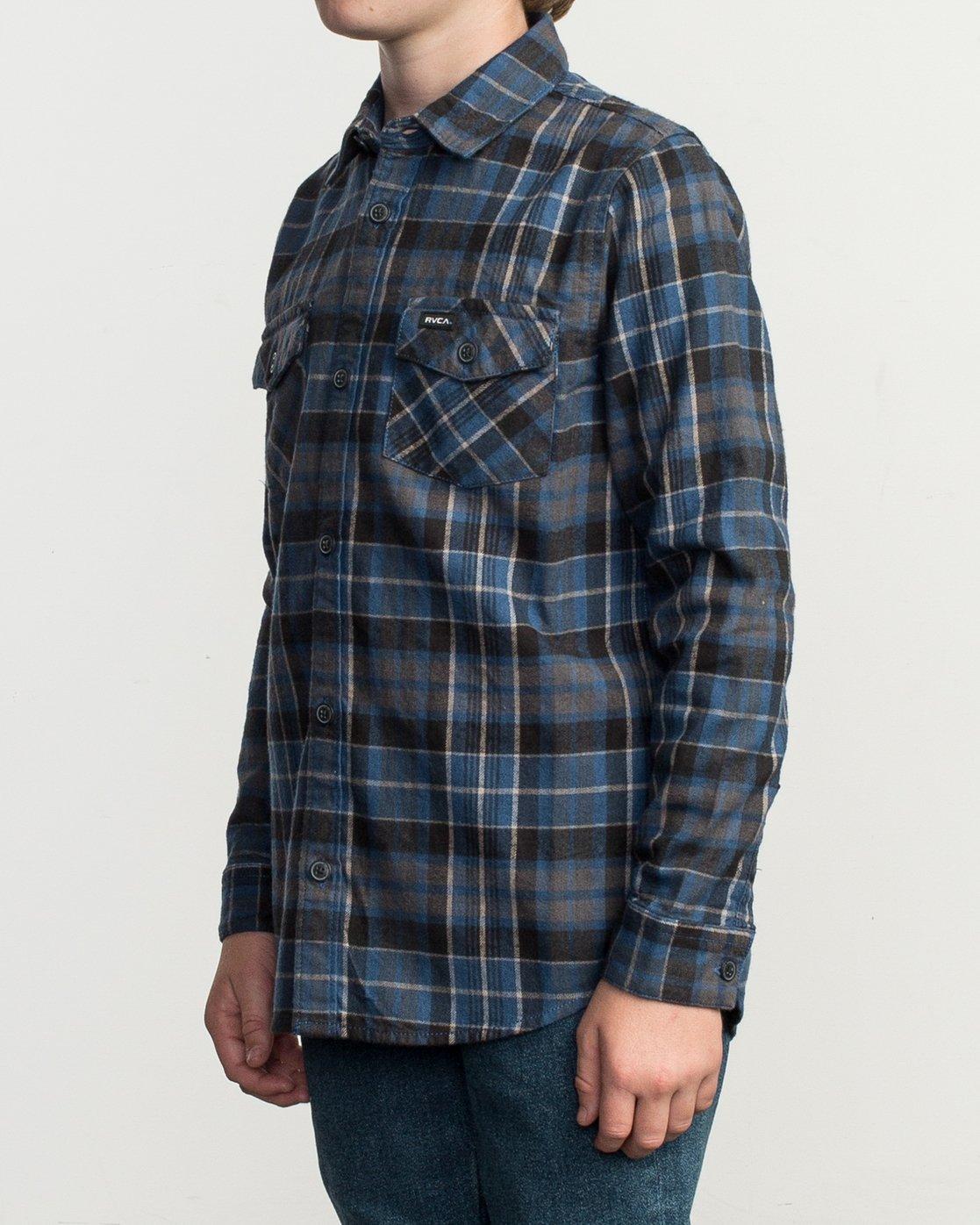 2 Boy's Watt Flannel Shirt Blue B553TRWF RVCA
