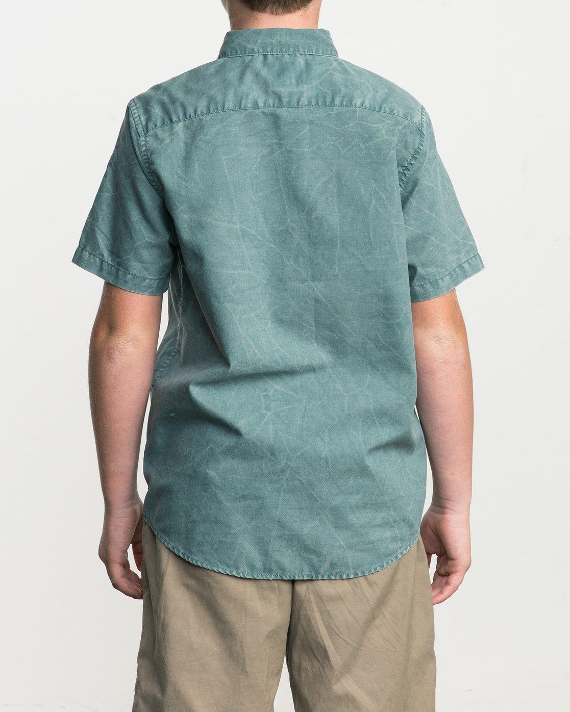3 Boy's That'll Do Washed Button-Up Shirt Green B592SRTR RVCA