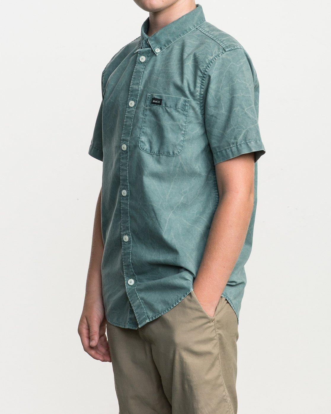 2 Boy's That'll Do Washed Button-Up Shirt Green B592SRTR RVCA
