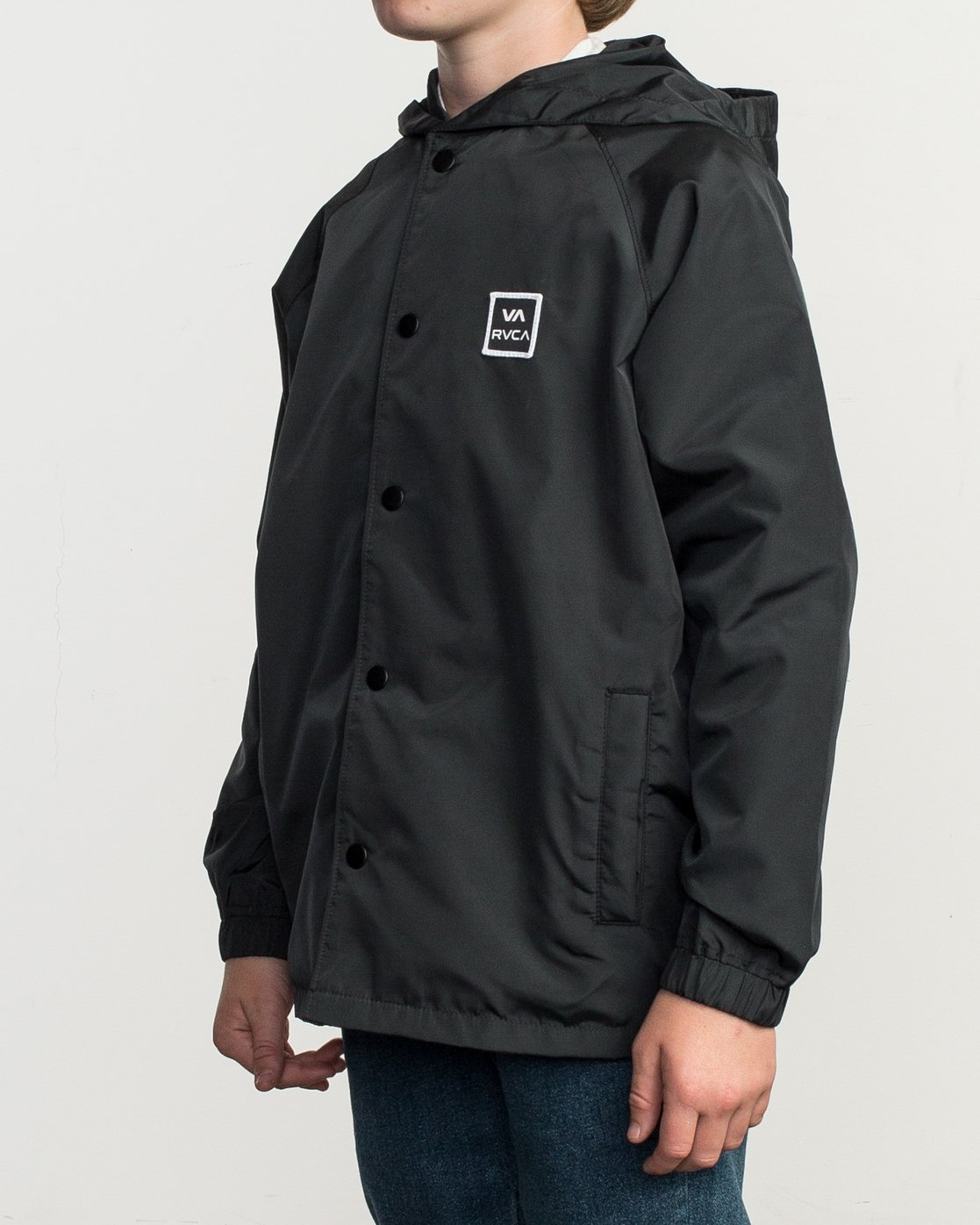 2 Boy's VA Hooded Coaches Jacket Black B701NRVA RVCA