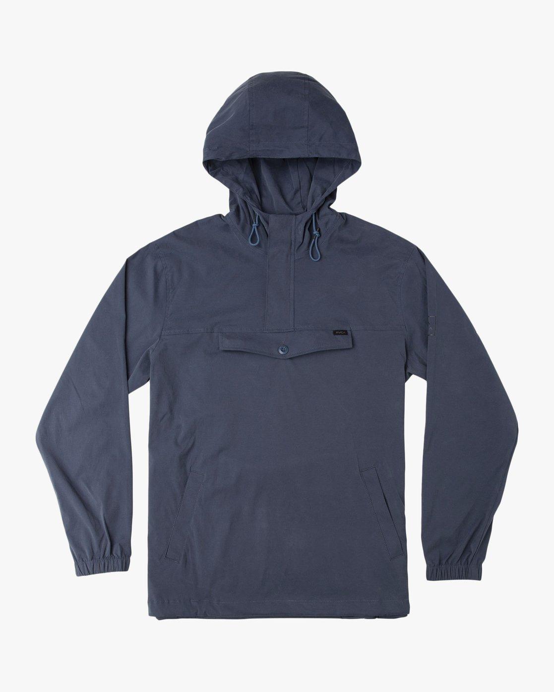 0 Boy's On Point Packable Anorak Jacket Blue B701TROP RVCA