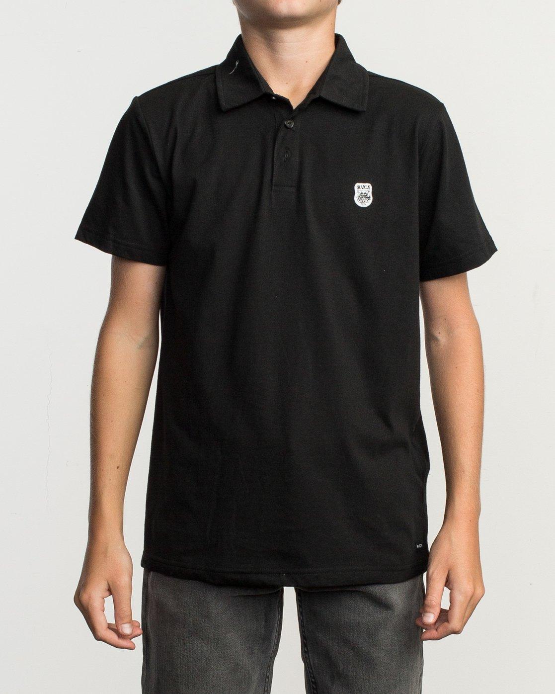 1 Boy's Sure Thing ANP Polo Shirt Black B915TRSU RVCA