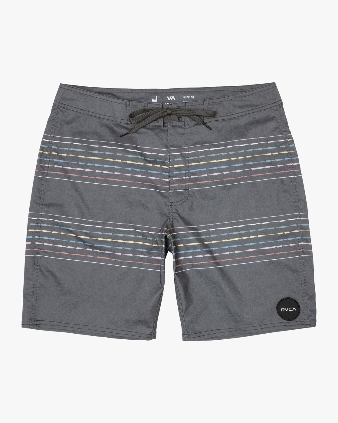"0 Double Vision Striped 19"" Boardshort Black M162TRDO RVCA"
