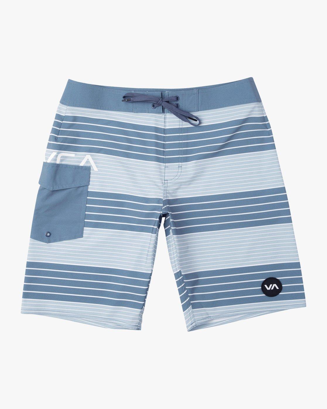 """0 Uncivil Stripe 20"""" Boardshort Blue M164TRUN RVCA"""
