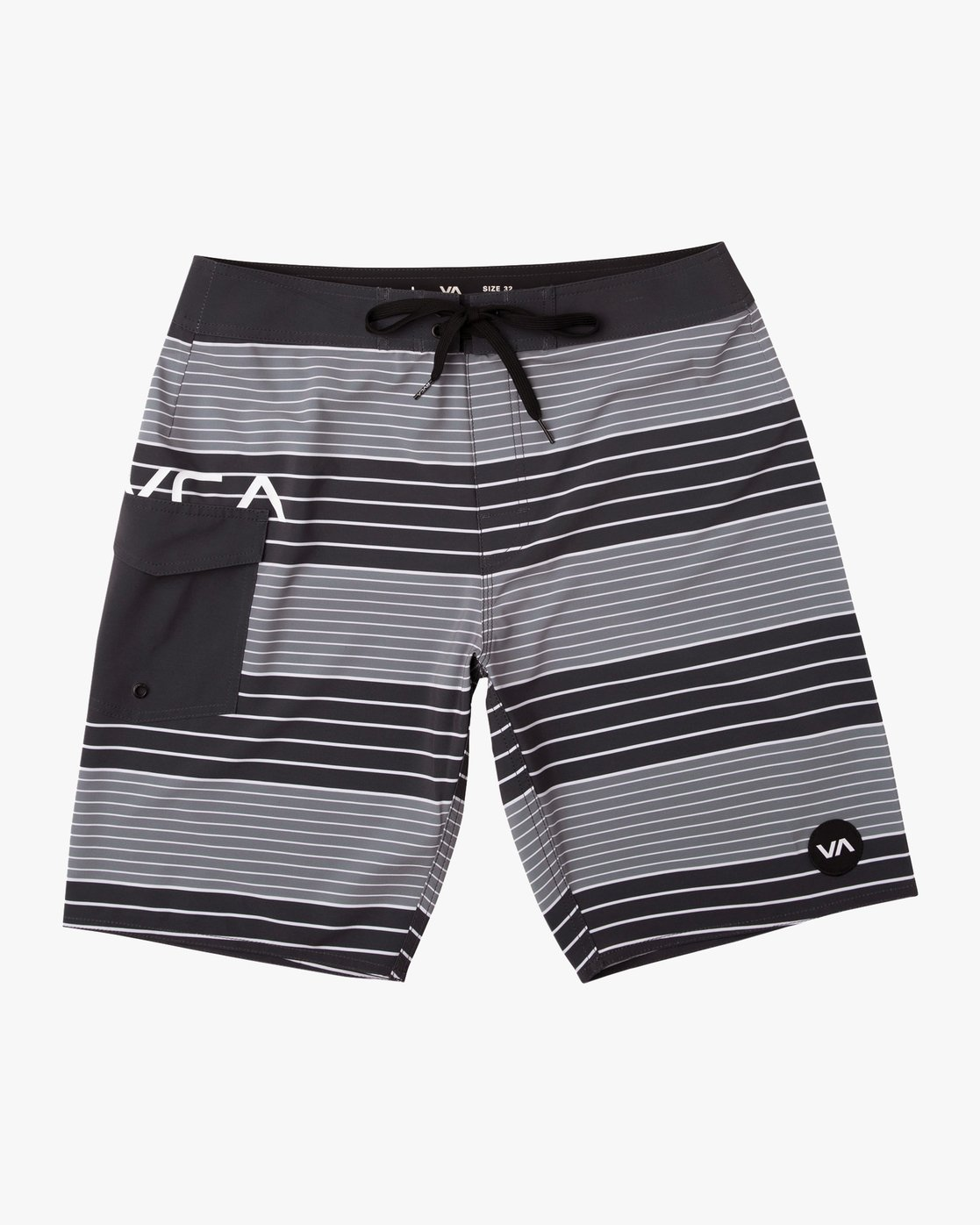 "0 Uncivil Stripe 20"" Boardshort Black M164TRUN RVCA"