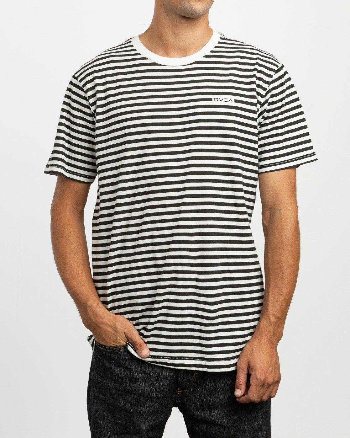 1 House Stripes T-Shirt White M430TRHO RVCA