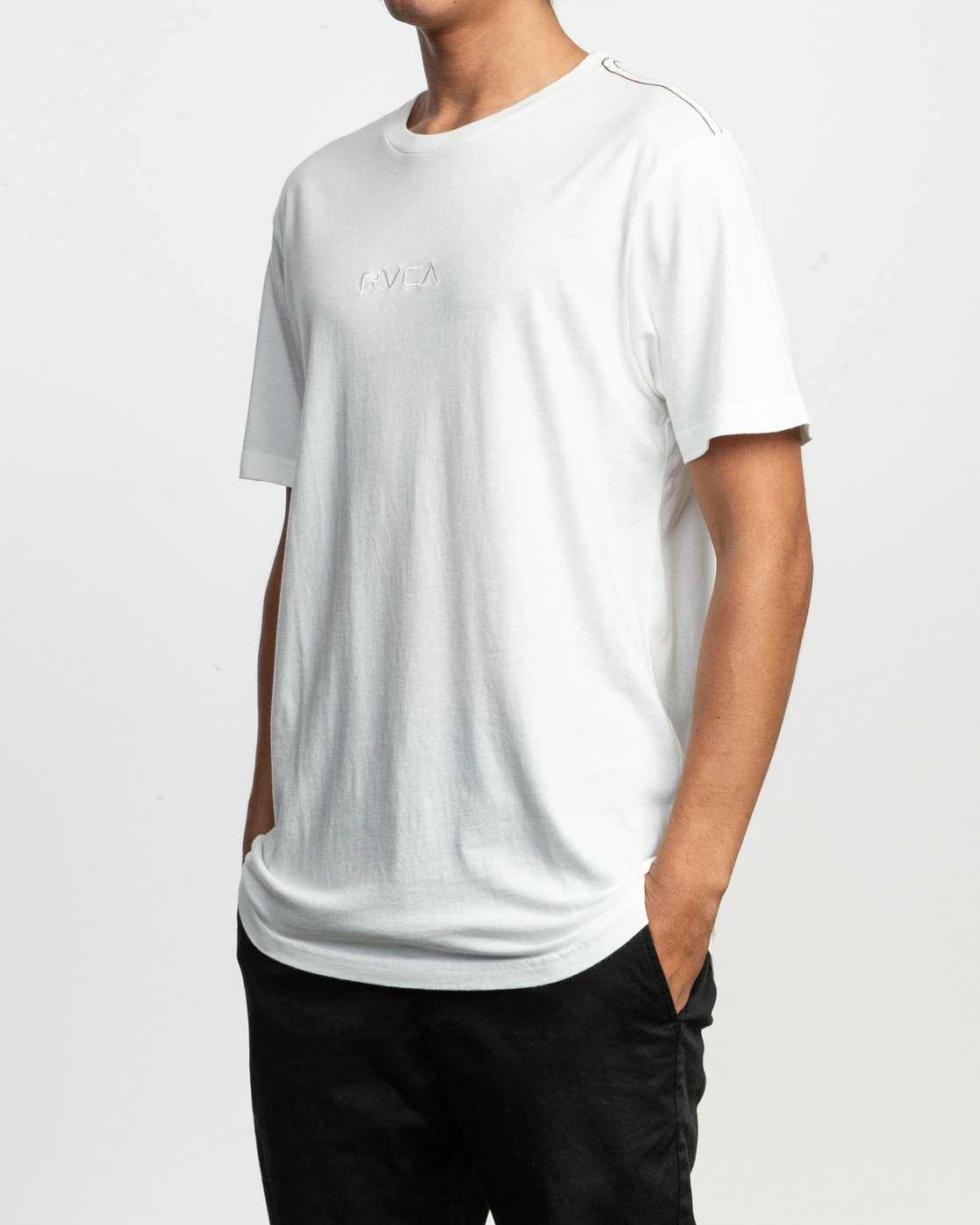2 Small RVCA Embroidered T-Shirt White M430TRSM RVCA
