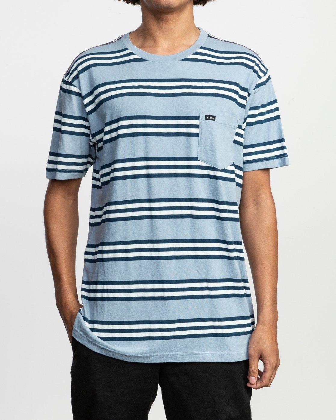 1 Ferris Striped T-Shirt Blue M436TRFE RVCA