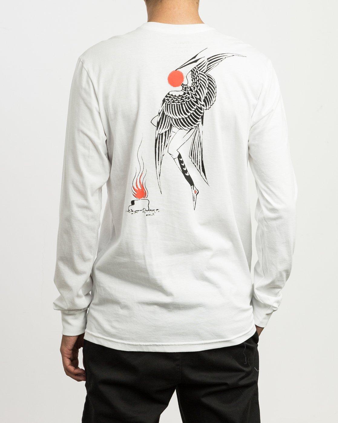 4 Matus Fire Dance Long Sleeve T-Shirt White M451SRFI RVCA