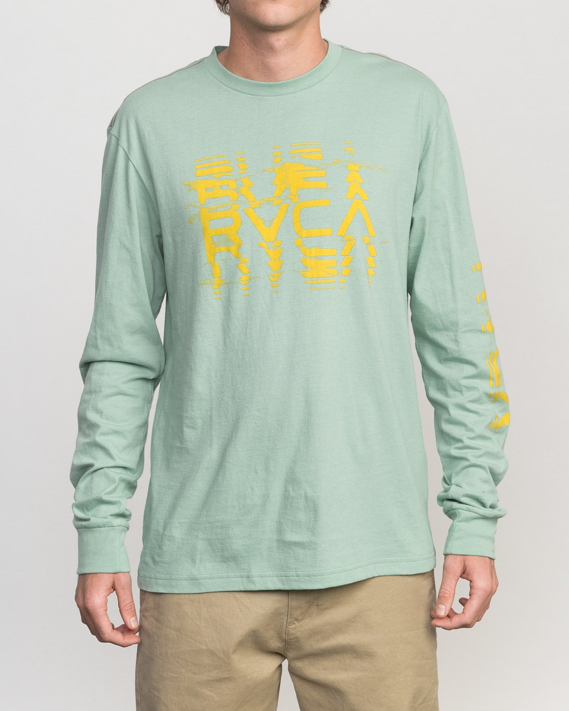 1 Big Torn Long Sleeve T-Shirt Green M453PRBI RVCA