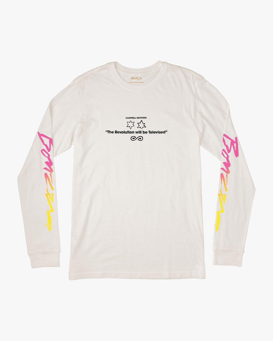 0 Campbell Bros Long Sleeve T-Shirt White M453QRCA RVCA
