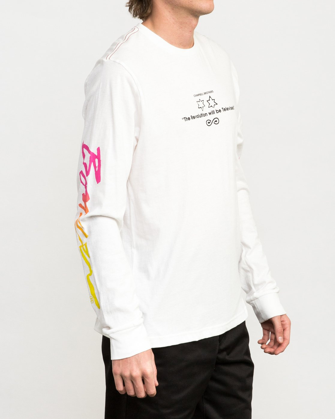 4 Campbell Bros Long Sleeve T-Shirt White M453QRCA RVCA