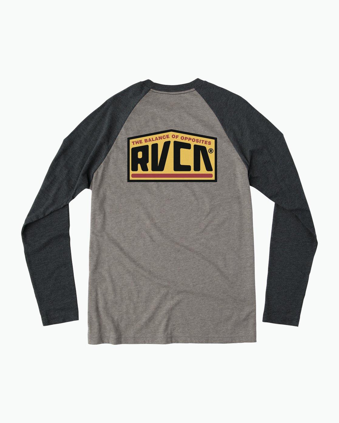 0 Roadside Baseball Raglan T-Shirt Grey M454SRRO RVCA
