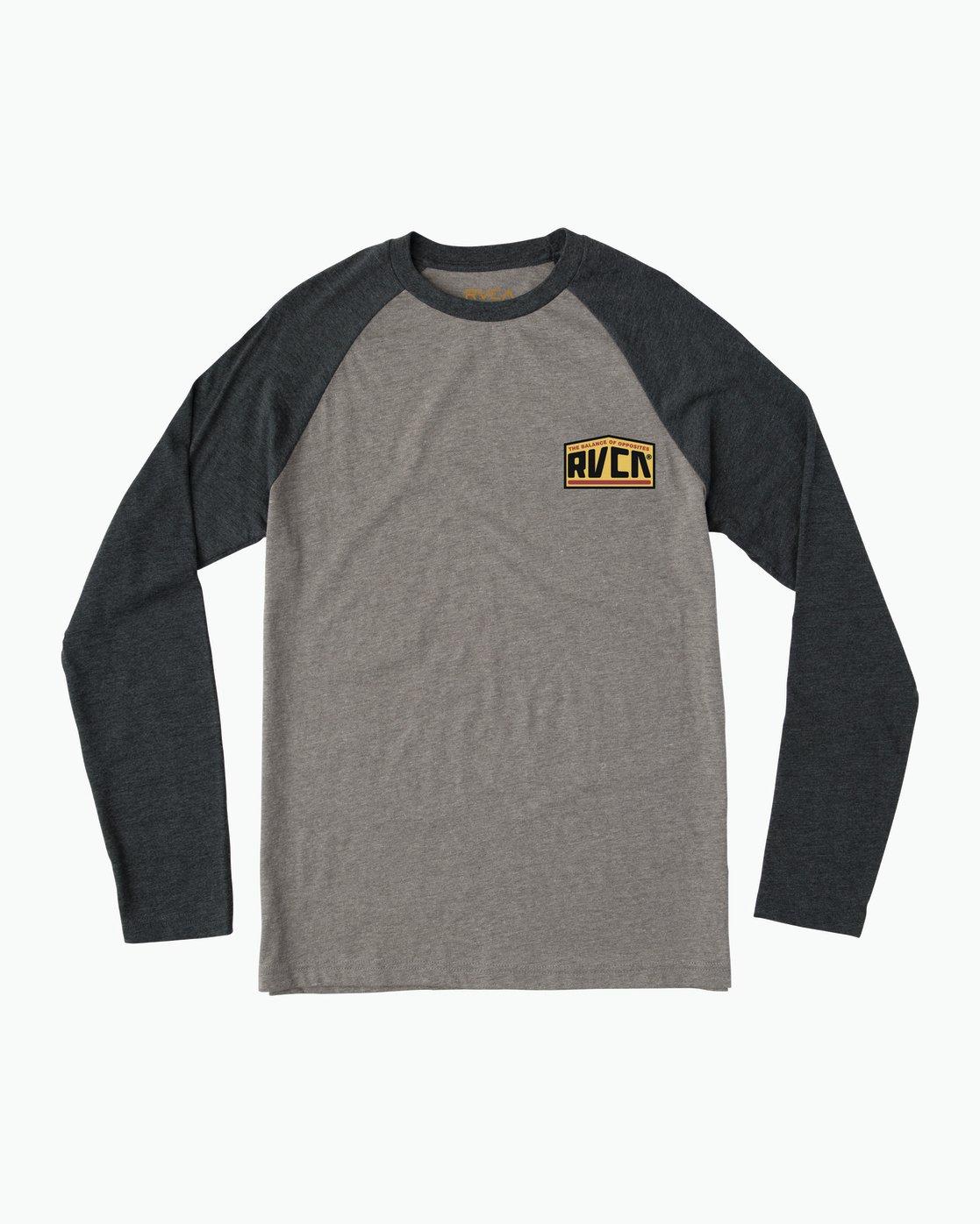 1 Roadside Baseball Raglan T-Shirt Grey M454SRRO RVCA