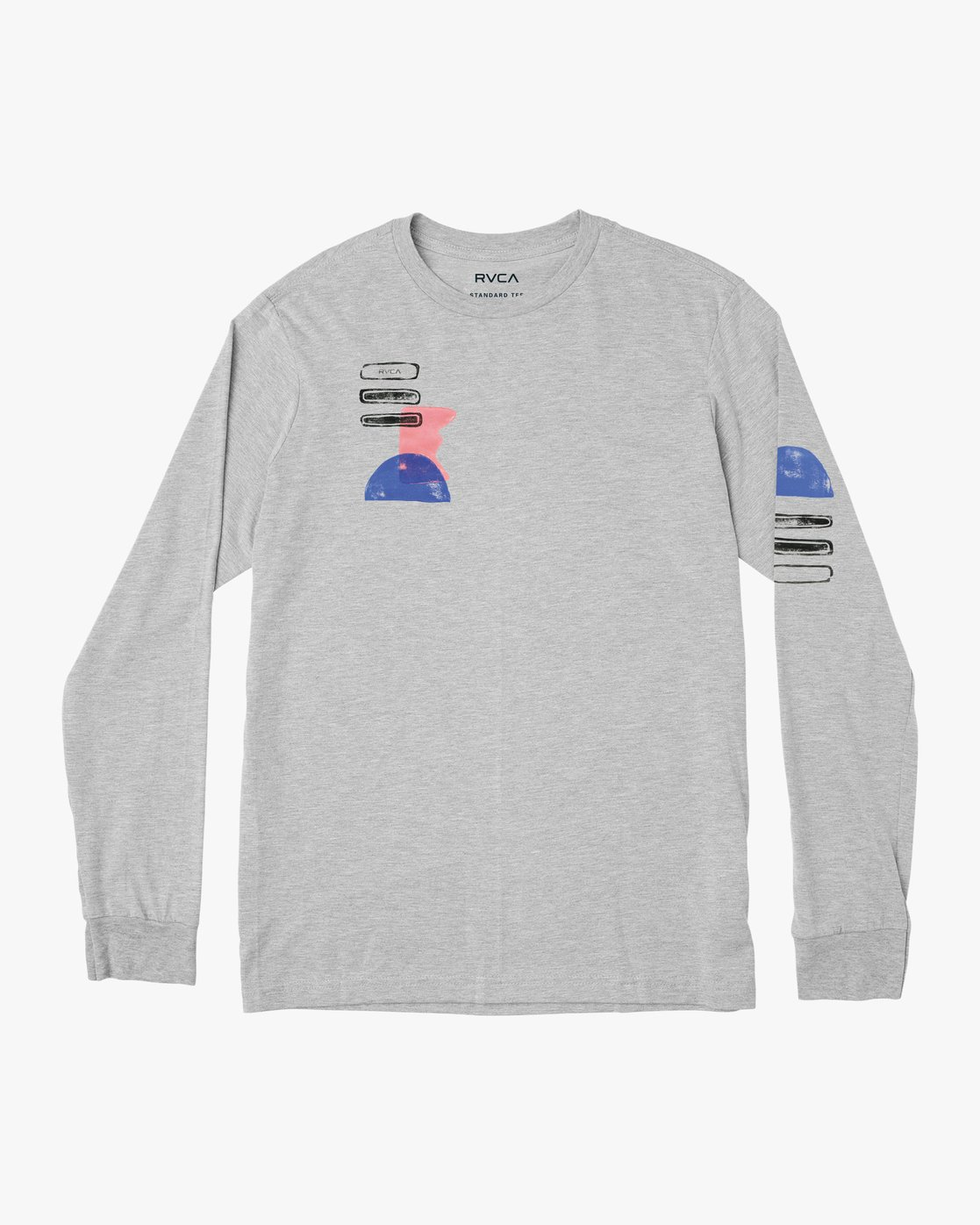0 Block Print Long Sleeve T-Shirt Grey M460PRBL RVCA