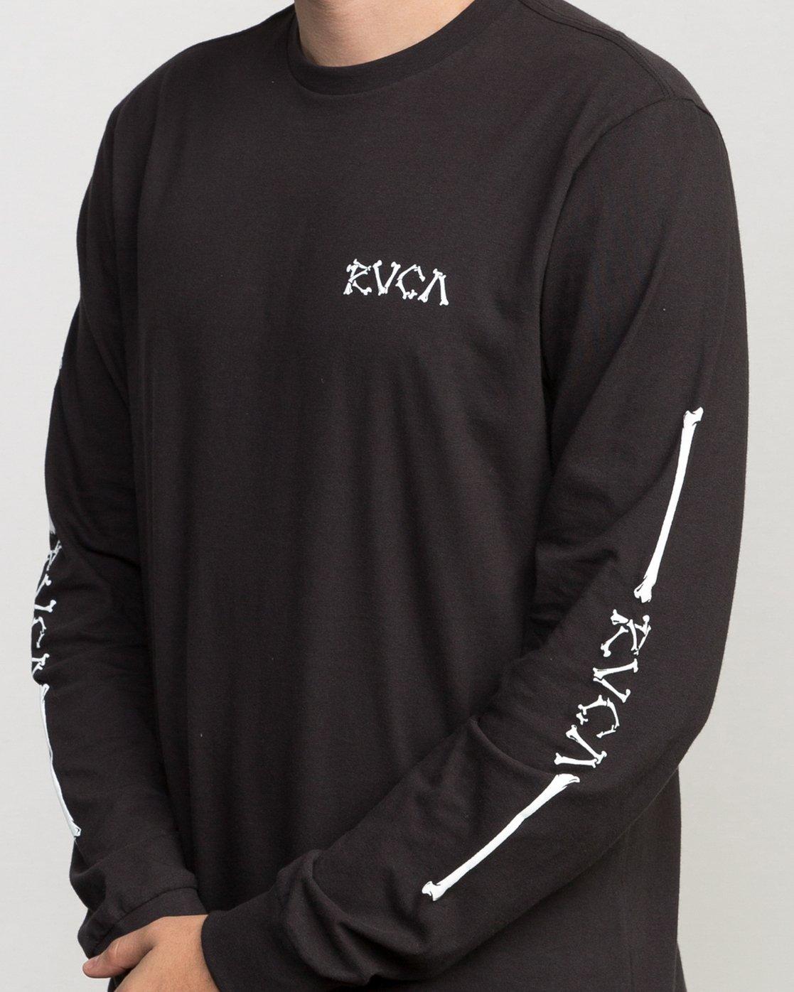 5 Bonezy Long Sleeve T-Shirt Black M460PRBO RVCA