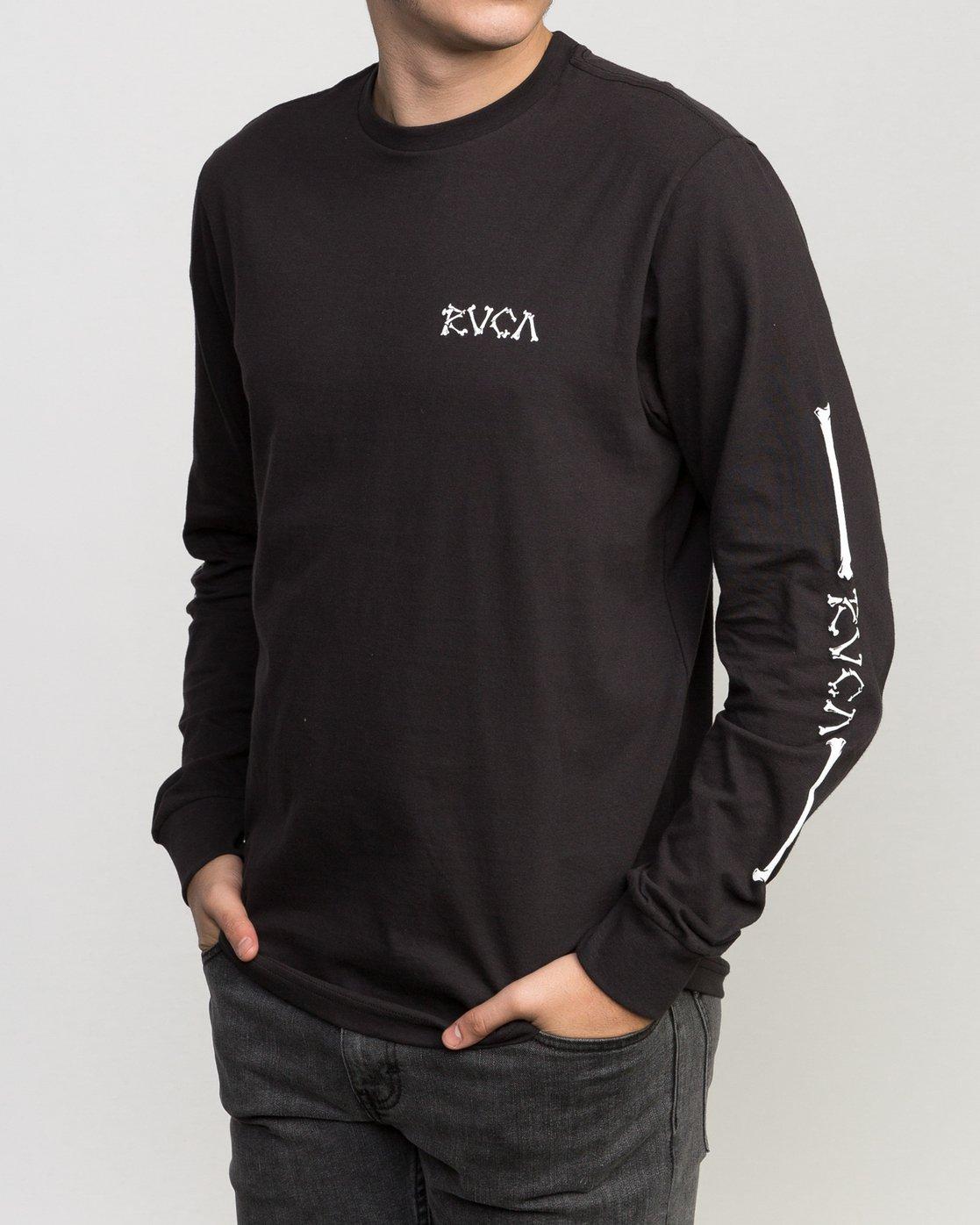 3 Bonezy Long Sleeve T-Shirt Black M460PRBO RVCA