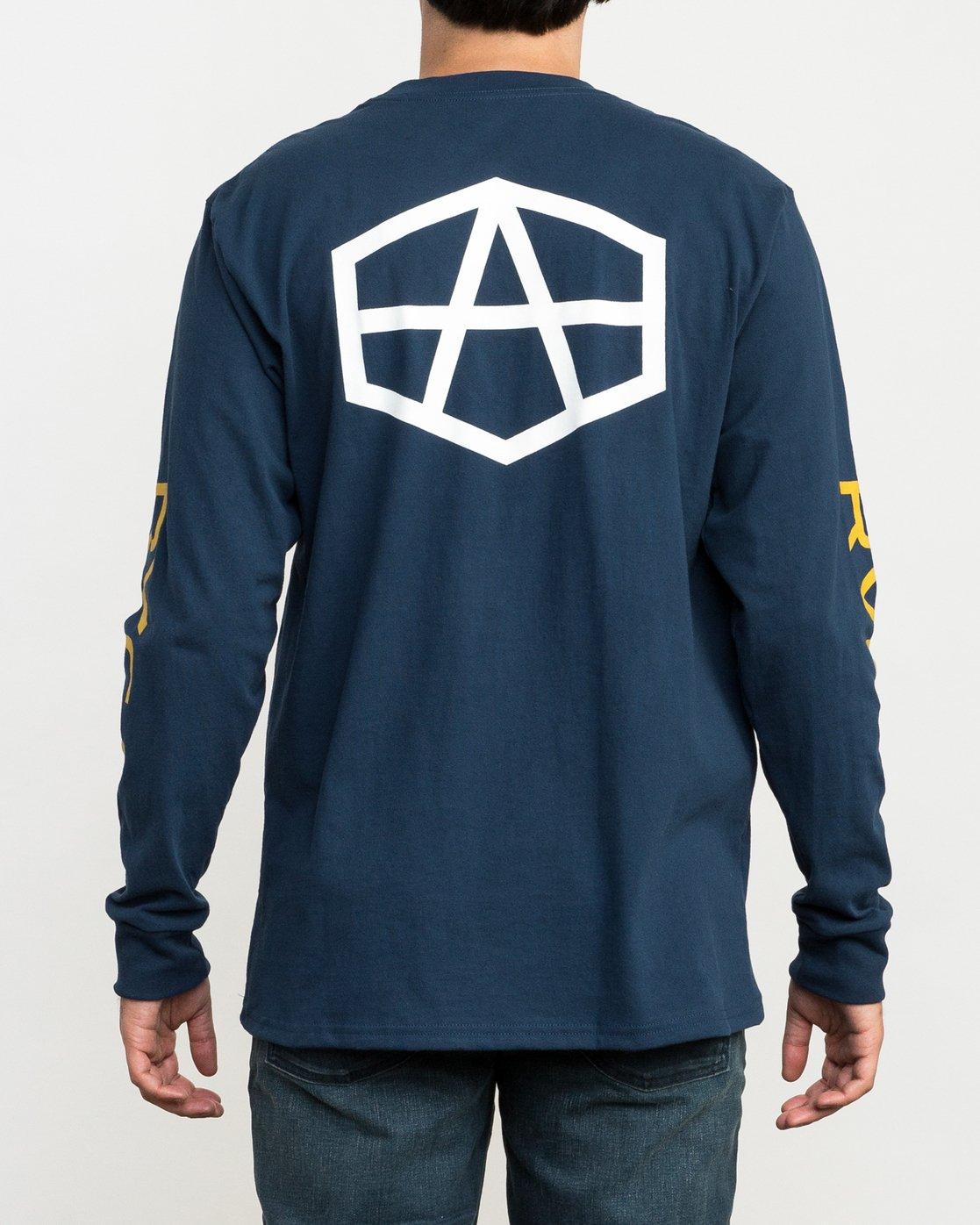 4 Reynolds Hex Long Sleeve T-Shirt Blue M492QRRE RVCA
